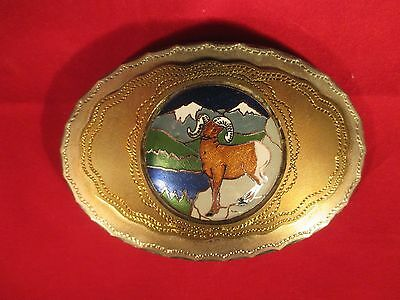 REALLY COOL - BRAND NEW - WILDLIFE BELT BUCKLE BY MM - ENAMEL LONG HORN SHEEP