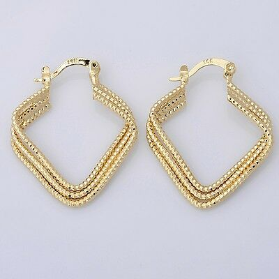 Pretty 14K Solid Yellow Gold Filled Hoop Style Womens Jewelry Earrings E025