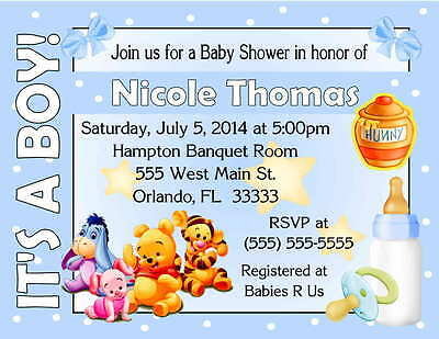 20 WINNIE THE POOH BABY SHOWER INVITATIONS - IT'S A BOY DESIGN