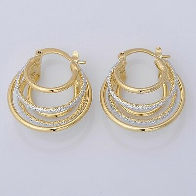 Pretty 14K Solid Yellow Gold Filled Hoop Style Womens Jewelry Earrings E049