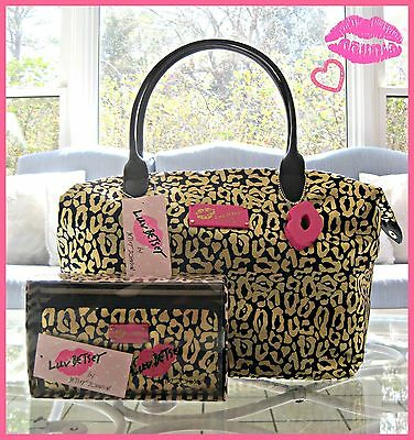 NWT!!  Betsey Johnson Black & Gold Leopard Cheetah Tote Bag W/ Wallet.. Sexy!!