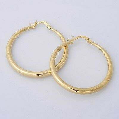 Pretty 14K Solid Yellow Gold Filled Hoop Style Womens Jewelry Earrings E002