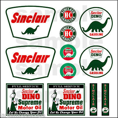 SINCLAIR 1:87 HO SCALE BUILDING GASOLINE GAS STATION SIGNS DECALS