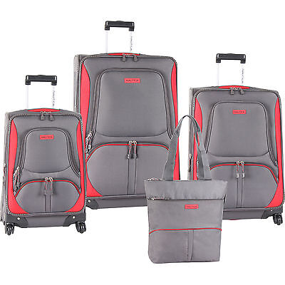 NAUTICA DOWNHAUL SPINNER GRAY RED 4 PIECE LUGGAGE SET $1030 VALUE NEW