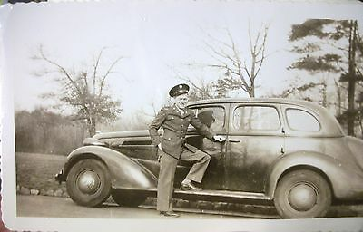 WWII Vintage  1940's SOLDIER PHOTO w/CAR at SLATER PARK Rhode Island    Dated