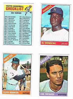 1966 TOPPS BASEBALL LOT OF 72 DIFF. CARDS 1/2 EXMT, 1/2 EX TO EX+!!!!!!!!!