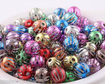 20pcs transparent candy stripes plating color Christmas gifts loose beads charms