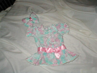 VINTAGE ORIGINAL CABBAGE PATCH 2PC FLORAL PARTY DRESS WITH HAIR BOW