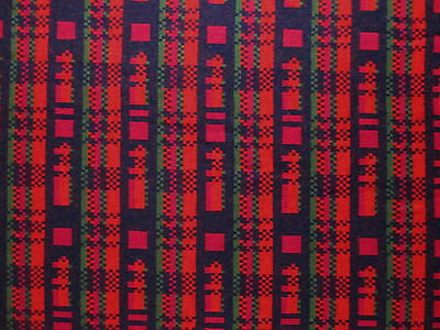 "Vintage Red, Orange, Pink, Green & Black Lego Design Knit Fabric 1 Yd/ 66"" Wide"