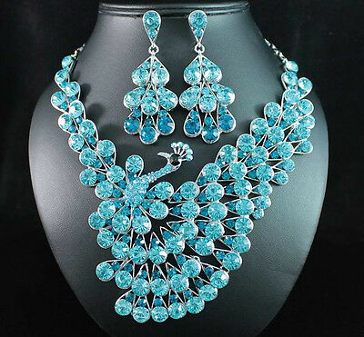 PEACOCK TEAL AUSTRIAN RHINESTONE CRYSTAL BIB NECKLACE EARRINGS SET WED N1616TEAL
