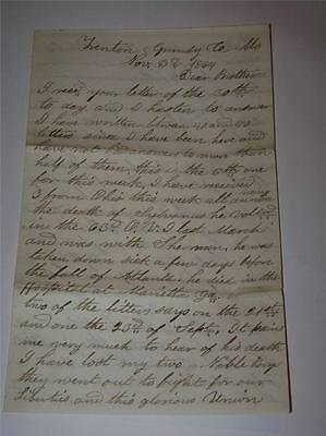 1864 Civil War Soldier Letter Discusses Slave States & Fall Of Atlanta