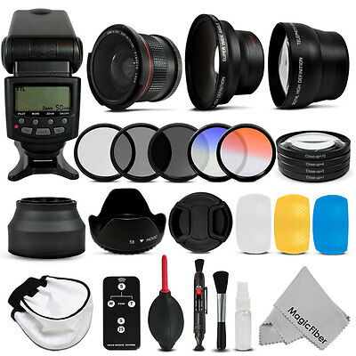 58mm Altura Flash Wide Angle Telephoto Fisheye Filters Accessory Kit For Canon