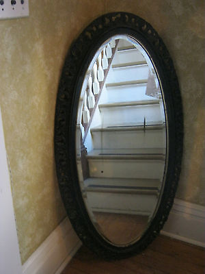 Antique Beveled Decorative Oval Wall Mirror with Ornate Wood Frame