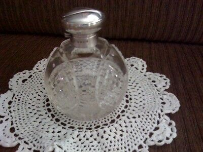 VINTAGE CUT CRYSTAL PERFUME BOTTLE/STERLING DOME LID WITH HALLMARKS