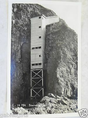 Stairway to N Entrance Sea Lion Caves Oregon RPPC Sawyers Real Photo Postcard OR