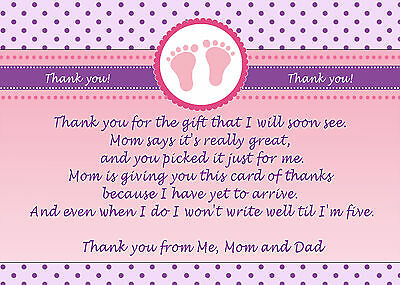 30 Personalized Baby Girl Shower Thank You Card Note Polks Dot Pink Purple Feet