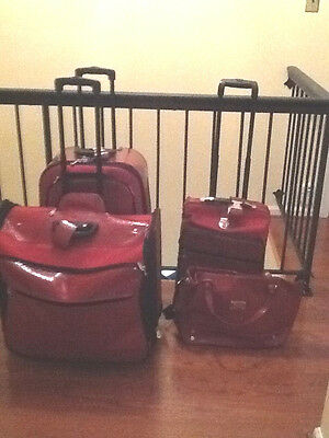 Joy Mangano Clothes It All Red CROC EMBOSSED 4 piece luggage set