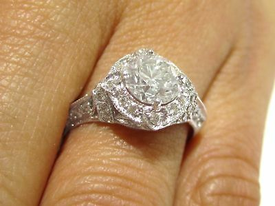 ROUND CUT ANTIQUE STYLE DIAMOND ENGAGEMENT RING IN 14K