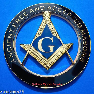 Lodge AF&AM Mason Auto FreeMasonry Car Emblem Heavy Duty Alloy Nice Black Golden