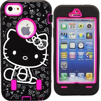 Cute Hot Pink Hello Kitty Case for iPhone 5 Shockproof Strong Hard Bow Cover
