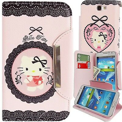 Pink Black Hello Kitty PU Leather Lace Wallet Case for Galaxy Note 2 Cover