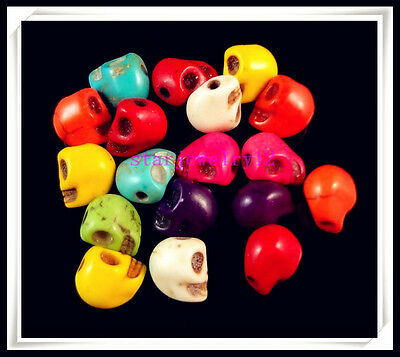 Lots 50Pcs Mixed color turquoise skull charm spacer beads Jewelry Finding 8x6mm