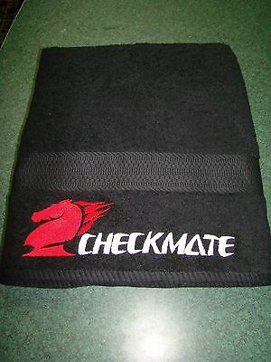 Checkmate Boat Towel Black W/Red Horse White Lettering Embroidered