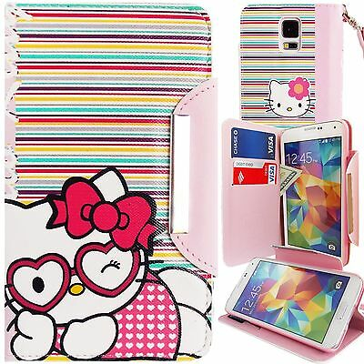 Pink Hello Kitty PU Leather Stripes Wallet Case for Samsung Galaxy S5 Card Cover