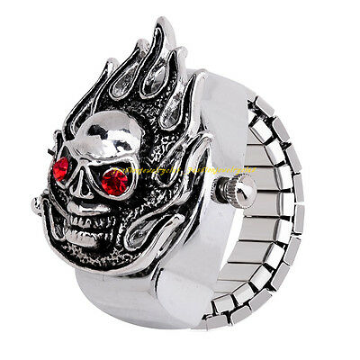 Fashion Lady Crystal Skeleton Skull Alloy Round Elastic Quartz Finger Ring Watch