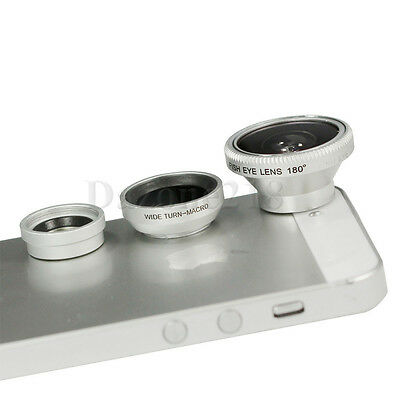 3in1 180° Fish Eye + Wide Angle + Micro Lens for iPhone 5 5S 4 i Pad iPod Camera