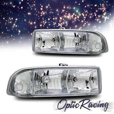 FOR 98-2004 S10 CRYSTAL HEADLIGHTS CHROME CLEAR LEFT+RIGHT PAIR SAE DOT NEW