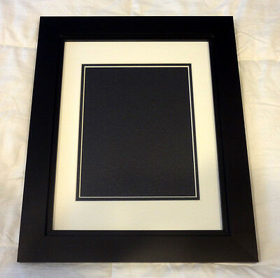 11x14 BLACK PICTURE FRAME for 8x10 Photos Prints Double Mat Solid Wood