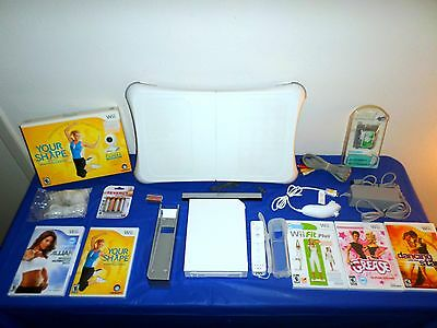 Nintendo Wii Console w/ Wii Fit PLUS Exercise Balance Board + 5 Games Bundle