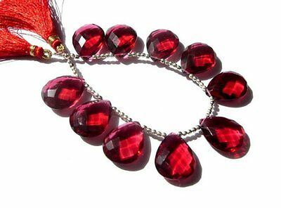 AAA Red Quarts Fancy Faceted Pear Briolette Beads 12x15 mm 8 Inch Strand