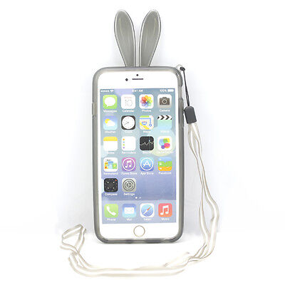 3D Cute Rabbit Bunny Crystal TPU Bumper Frame Cover Case for iPhone 6 Plus 5.5""