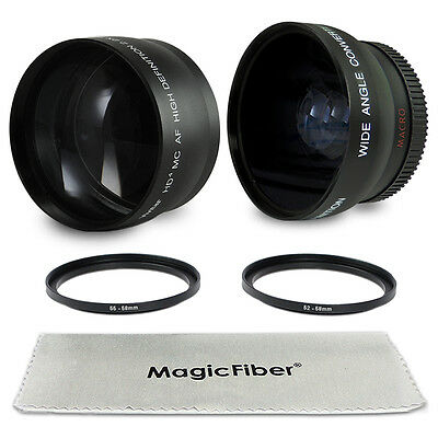 HD Wide Angle + Telephoto Lens & Adapter Rings for Canon Nikon Sony Alpha