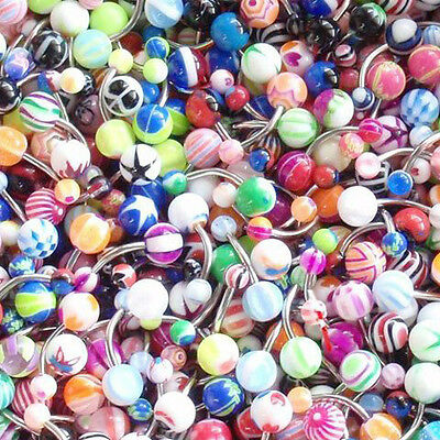 14G Belly Ring Assorted Lot of 100 Belly Button Rings Navel Banana Body Piercing