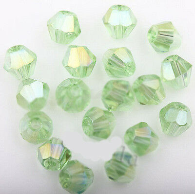 New 50Pcs Grass Green AB Czech Crystal Charms Spacer Beads Jewelry Making 4mm
