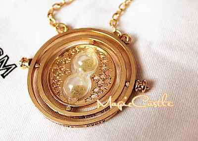 Harry Potter Hermione Rotating Time Turner 18kGold plated Necklace Granger Props
