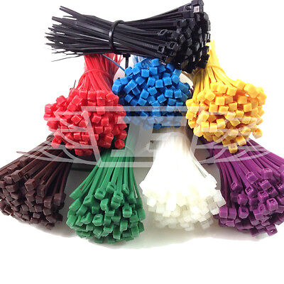 100 Cable Ties Zip Tie Red Blue Yellow Green Black White Purple Brown Orange