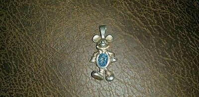 Mickey mouse sterling birthstone pendant charm March aquamarine