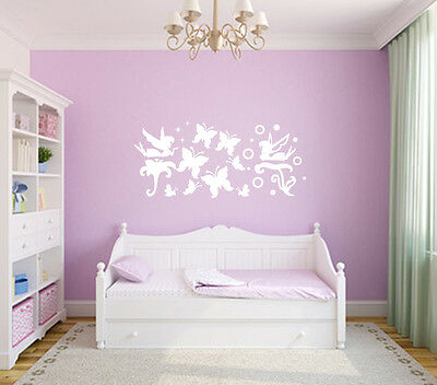 Girls Bedroom Wall/Car Various Size Fairies & Butterfly Stickers Decal Art Decor