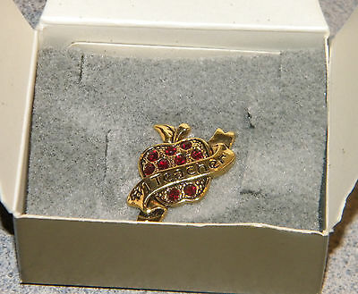 vintage AVON gold tone an APPLE for #1 TEACHER pin brooch red crystals orig box