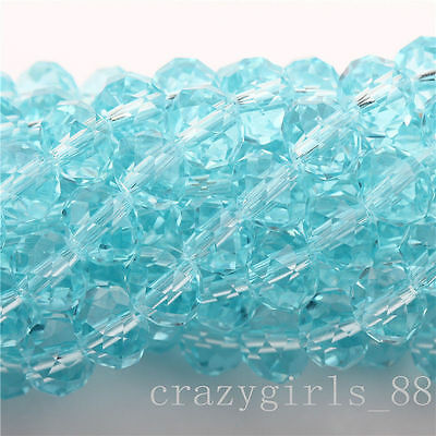 20Pcs Light Lack Blue High Quality Clear Czech Crys Rondelle Spacer Beads 8mm
