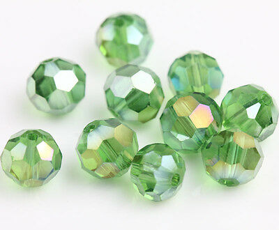 50Pcs Grass Green AB Czech Crystal Spacer Charms Loose Beads Jewelry Making 8mm