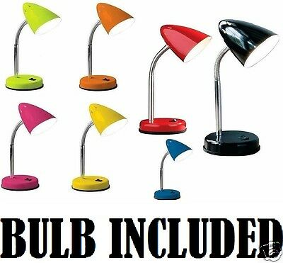 Flexi Neck Table Lamp Desk Study Office Bed Side Night Light Flexible With Bulb