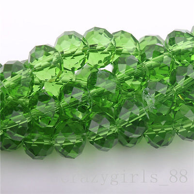 20Pcs Grass Green High Quality Clear Czech Crys Rondelle Spacer Loose Beads 8mm