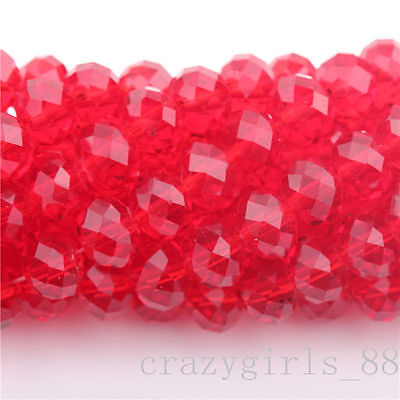 20Pcs Water Red High Quality Clear Czech Crys Rondelle Spacer Beads 8mm