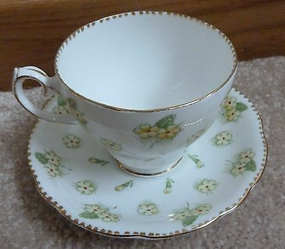 Vintage Gladstone Bone China England Cup and Saucer - Yellow Floral Pattern
