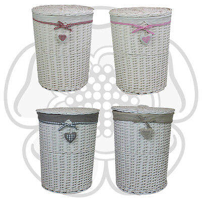 JVL Heart White Willow Wicker Round Linen Laundry Basket with Lid and Lining